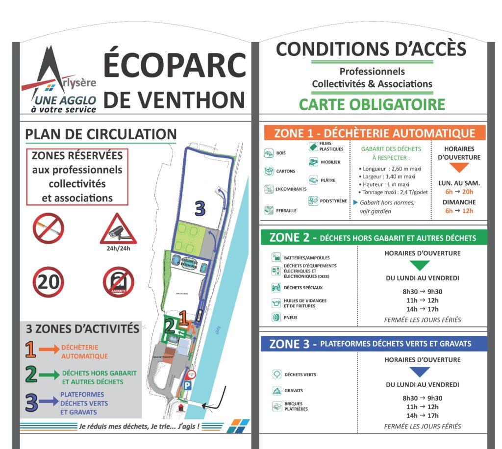 Panneaux des conditions d'accès à l'entrée du parc de Venthon