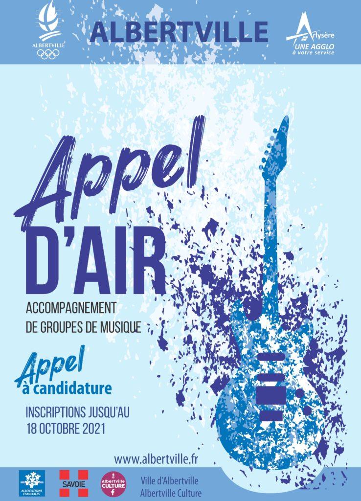 Affiche Appel d'Air, accompagnement de groupes de musique. Appel à candidature avec inscription jusqu'au 18 octobre 2021